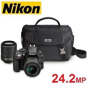 NEW NIKON D3300 DSLR CAMERA KIT - 122457557 - W/ 18-55MM 55-200MM DX VR LENSES 24.2MP DIGITAL PHOTOGRAPHY HD VIDEO