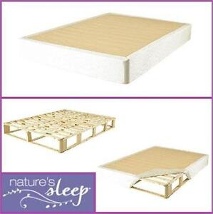 NEW NATURES SLEEP QUEEN BOXSPRING QUEEN BED FOUNDATION FRAME AND SLIP ON COVER