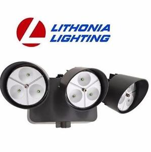 NEW LITHONIA LED 3-LIGHT FLOODLIGHT   W/ DUSK TO DAWN PHOTOCELL BLACK  HOME SECURITY LIGHTS LIGHTING OUTDOOR 93829135