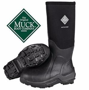 NEW ORIGINAL MUCK BOOTS MEN'S 11   UNISEX WOMEN'S 12 - BLACK SHOES RUBBER 84099337
