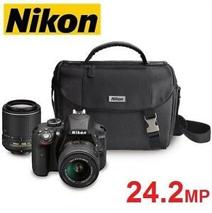 NEW NIKON D3300 DSLR CAMERA KIT - 122457557 - W/ 18-55MM 55-200MM DX VR LENSES 24.2MP DIGITAL PHOTOGRAPHY HD VIDEO