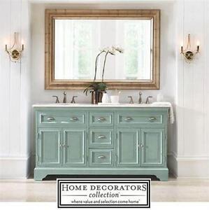 "NEW* HDC SADIE 67"" DOUBLE VANITY HOME DECORATORS COLLECTION - ANTIQUE BLUE - W/MARBLE TOP IN WHITE BATH BATHROOM"