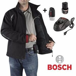 NEW BOSCH HEATED JACKET MEN'S LG   BLACK - 12V LITHIUM-ION SOFT SHELL W/ BATTERY COAT OUTERWEAR  87765894