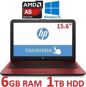 "NEW OB HP TOUCHSCREEN NOTEBOOK PC - 124300225 - 15.6"" AMD A6-7310 6GB RAM 1TB HDD WINDOWS 10 LAPTOP COMPUTER NEW OPEN..."
