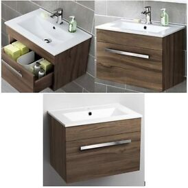 600mm Avon Walnut Effect Basin Cabinet - Wall Hung (rectangular Basin not included)