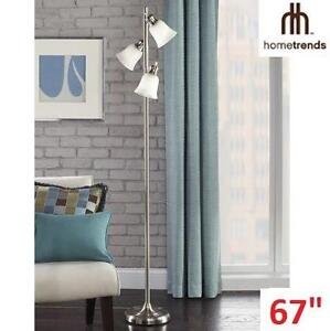 NEW HT 3-LIGHT TRACK TREE LAMP - 110301781 - HOMETRENDS - BRUSHED STEEL FINISH W/ FROSTED GLASS SHADES