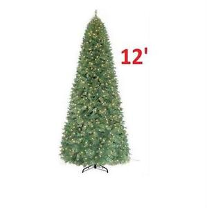 NEW HOLIDAY FRASER FIR PINE TREE 12' PRE-LIT 1100L ARTIFICIAL CHRISTMAS TREE DECORATIONS HOME XMAS DECORATE 83849371