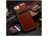 Ultra Thin Luxury Leather Card Holder Slots Back Case Cover Skin For iPhone / Samsung / Sony