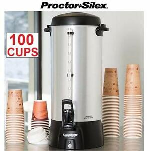 NEW PS 100-CUP COFFEE URN PROCTOR SILEX - PERCOLATOR - COFFEE TEA DISPENSER GATHERINGS FAMILY FUNCTIONS PARTY 84257250