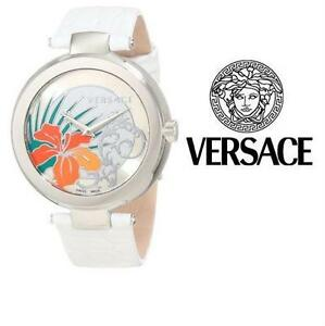NEW WOMEN'S VERSACE WATCH 38MM JEWELLERY - WHITE LEATHER BRACELET - HIBISCUS FLOWER MYSTIQUE