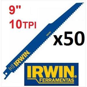 "50 NEW IRWIN RECIPROCATING BLADES - 111381501 - 9"" - 10TPI - DEMOLITION RECIPROCATING SAW BLAD - BOX OF 50"