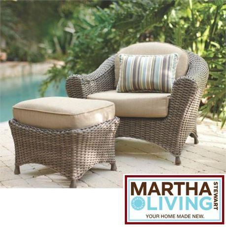 New msl patio chair ottoman set martha stewart living for Outdoor furniture kijiji