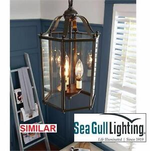 NEW SGL 3-LIGHT PENDANT   SEAGULL LIGHTING - BRUSHED NICKEL W/ CLEAR GLASS HOME INDOOR LIGHTING  89013226