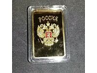 Russian gold plated Ltd edition collectors 'coin'. Encapsulated.