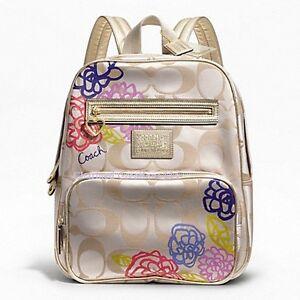 coach poppy signature applique backpack school book bag f20795 ebay