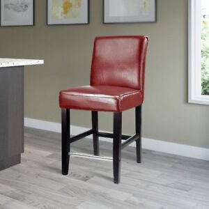 Red Bonded Leather Counter Height Barstool --- BRAND NEW ---