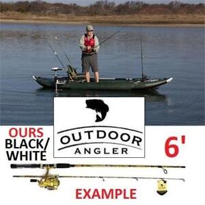 NEW 6' WATERDROP FISHING ROD COMBO WCMK602-W 182610625 OUTDOOR ANGLER SPINNING ROD/REEL BLACK/WHITE