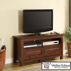 NEW WE TV STAND WITH DOUBLE DOORS - 117429755 - WALKER EDISON BROWN WOOD