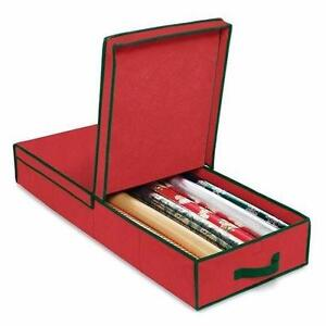 New, Christmas Storage 14 in. x 5 in. Christmas Gift Wrap and Ornament Box RED