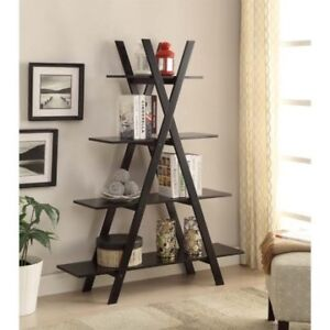 4 Shelf Tiered X Shaped Bookcase