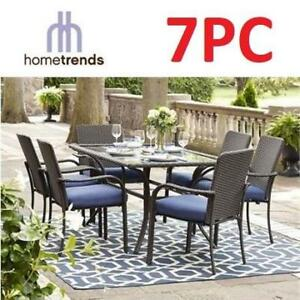 NEW* 7PC PATIO DINING SET LG-H8209-7PC BL 201224827 HOMETRENDS  TUSCANY BLUE PATIO FURNITURE