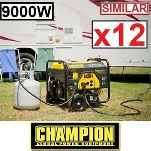 12 RFB CHAMPION 439CC GAS GENERATOR 100155 235007438 DUAL FUEL GASOLINE PROPANE 9000W 7000W ELECTRIC START REFURBISHED