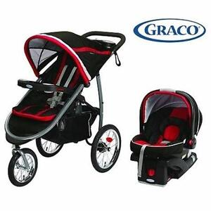 GRACO FASTACTION BABY TRAVEL SYSTEM  FASTACTION FOLD CLICK CONNECT JOGGER WITH SNUG RIDE INFANT CAR SEAT RED 91876484