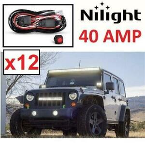 12 NEW LIGHT BAR WIRING HARNESS KIT NI-WA 02A 254560726 NILIGHT FOR OFF ROAD ATV/JEEP LED 40 AMP RELA ON/OFF SWITCH