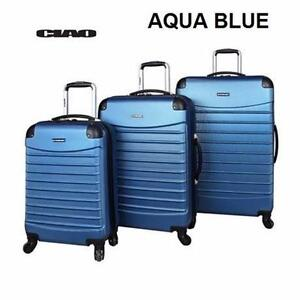 NEW 3PC CIAO SPINNER LUGGAGE SET   AQUA - HARD-SIDE - VOYAGER BAG - SUITCASE LUGGAGE SPINNER TRAVEL BAGGAGE 92656622