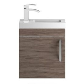 Slimline Walnut Vanity Unit (Wall hung)
