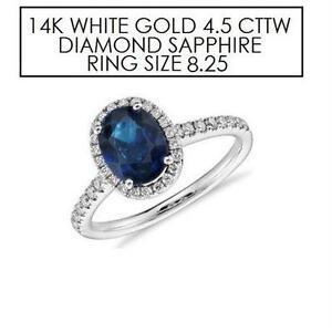 NEW* STAMPED 14K DIAMOND RING 8.25 JEWELLERY - 14K WHITE GOLD - NATURAL BLUE SAPPHIRE - 4.5 CTTW DIAMOND