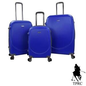 NEW* TPRC 3PC BARNET LUGGAGE SET EXPANDABLE TRAVELERS CLUB DOUBLE SPINNER SUITCASE COBALT BLUE 78272073