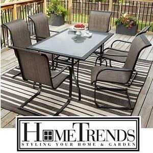 NEW* HOMETRENDS 7 PC PATIO SET - 123465488 - CHARLESTON PATIO FURNITURE - SET INCLUDES 6 CHAIRS AND TABLE - 2 BOXES