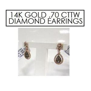 NEW* STAMPED 14K DIAMOND EARRINGS JEWELLERY - STAMPED 14K GOLD - .70 CTTW DIAMOND - MOCHA WHITE