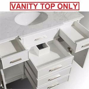 "NEW AVANITY 49"" MARBLE VANITY TOP   VANITY TOP ONLY - WHITE CARRARA MARBLE VANITIES TOPS BATH BATHROOM COUNTER 99542451"