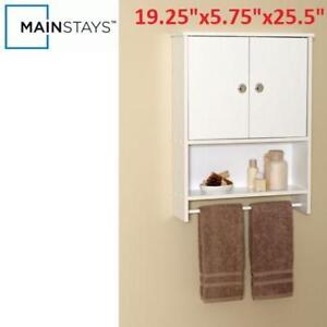 NEW MAINSTAYS 2 DOOR WALL CABINET 221965278 WHITE WOOD W/ TOWEL BAR