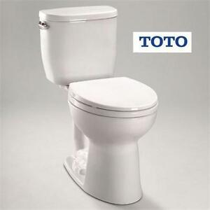 NEW TOTO ENTRADA 2 PIECE TOILET 1.28 GPF ROUND TOILET IN COTTON HOME IMPROVEMENT PLUMBING  82386687