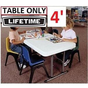 NEW LIFETIME 4' FOLDING TABLE WHITE - ADJUSTABLE HOME  PATIO FURNITURE ACCESSORIES 95070673
