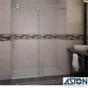 "NEW ASTON LANGHAM SHOWER DOORS 60""x75"" FRAMELESS CHROME FINISH CLEAR GLASS- BATHROOM SHOWERS DOOR BATH ALCOVE 98761678"