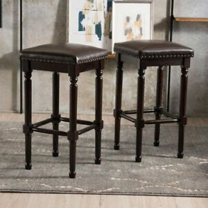 2 Modern Brown Leather Bar Stools For Your Kitchen or Basement