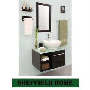 NEW* SH PALMA 27.5 VANITY COMBO SHEFFIELD HOME - VANITY CABINET,GLASS TOP, MIRROR AND WALL MOUNTS - BATHROOM