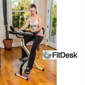 NEW FITDESK OFFICE EXERCISE DESK EXERCISE FITNESS EQUIPMENT - EXERCISE BIKE with Massage Bar, White, Universal 76831952
