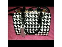 Ladies black and white handbag