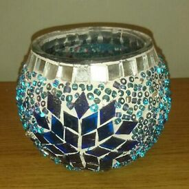 Small glass mosaic vase blue