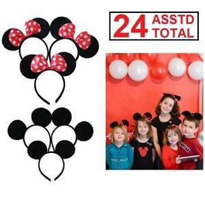 2 NEW 12PK MICKEY MINNIE MOUSE EARS 229682074 KIDS ADULTS HEADBANDS BIRTHDAY PARTY COSTUME RED POLKADOT