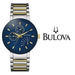 USED* MEN'S BULOVA WATCH 98C123 214459012 JEWELLERY JEWELRY STAINLESS STEEL QUARTZ TWO TONE
