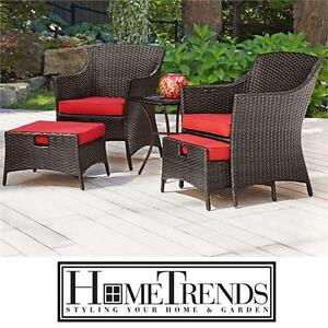 NEW* HOMETRENDS 5 PIECE CHAT SET RED CUSHIONS - HAND WEAVE PE RATTAN - HIDEAWAY OTTOMAN Outdoor Living Patio Furniture