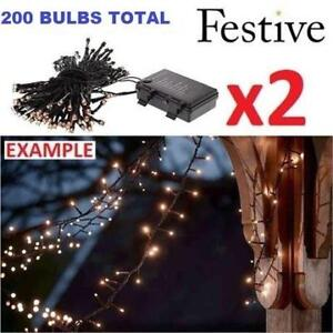 2 NEW FESTIVE LED CHRISTMAS LIGHTS P019134 223579815 STRING BATTERY OPERATED TIMER WARM WHITE 2 BOXES OF 100 BULBS XM...