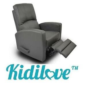 NEW* KIDILOVE HABANA GLIDER CHAIR BONDED LEATHER GLIDER BABY CHAIRS - DARY GREY - FURNITURE DECOR GLIDERS ROCKING
