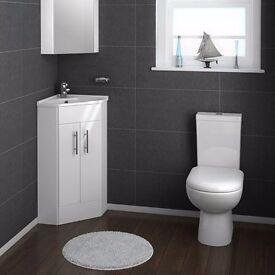 White corner cabinet with basin